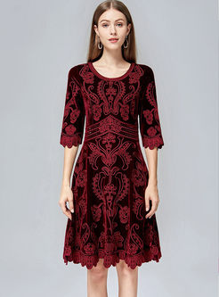 Crew Neck Embroidered A Line Dress