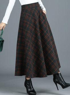 High Waisted Plaid A Line Maxi Skirt