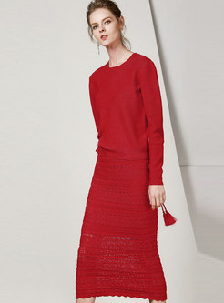 Solid Color Knit Two Piece Dresses