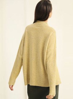 Solid Color Mock Neck Loose Pullover Sweater