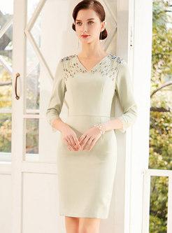 V-neck Beading Mini Bodycon Dress