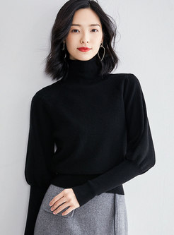 Turtleneck Puff Sleeve Pullover Sweater