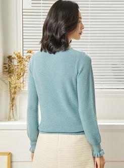 Mock Neck Patchwork Color-blocked Slim Sweater