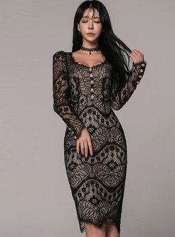 V-neck Lace Openwork Bodycon Fromal Dress