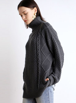 Turtleneck Straight Loose Knit Sweater