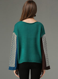 Crew Neck Color-blocked Slit Sweater