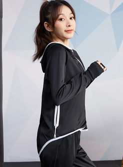 Hooded Side Zipper Workout Jacket