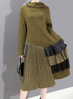 Turtleneck Long Sleeve Pleated Sweater Dress