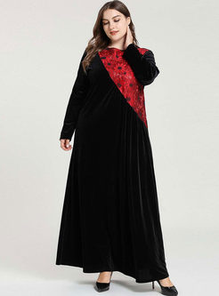 Black Plus Size Velvet Maxi Dress