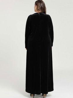 Black Plus Size Velvet Maxi Dress