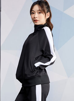 Color-blocked Zipper Workout Jacket