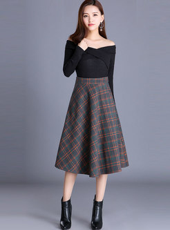 High Waisted Plaid Wool Blend A Line Skirt