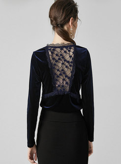 V-neck Patchwork Backless Openwork T-shirt