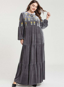 Plus Size Embroidered Pleated Maxi Dress