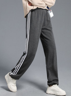 Elastic Waisted Color-blocked Thick Straight Loose Joggers