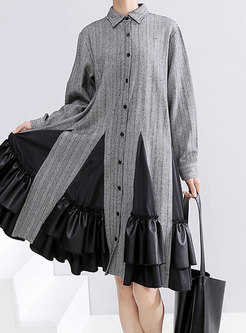 Patchwork Single-breasted Striped Shift Dress