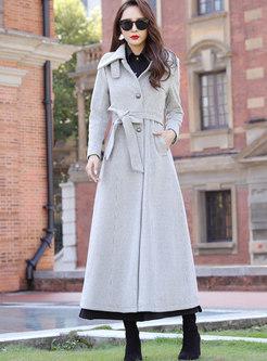 Solid Color Waist Long Overcoat