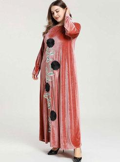 Crew Neck Embroidered Plus Size Maxi Dress