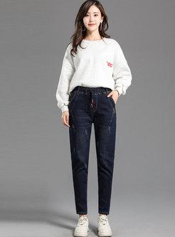 Elastic Waist Cotton Denim Tapered Pants