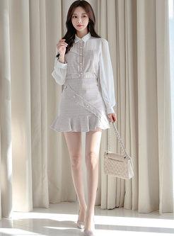 Long Sleeve Patchwork Peplum Skirt Suit