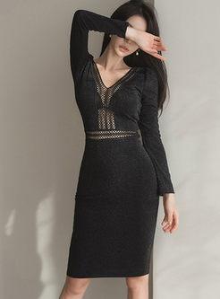 V-neck Mesh Openwork Bodycon Dress