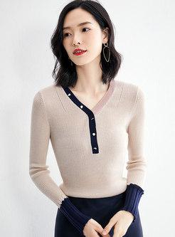 V-neck Color-blocked Patchwork Slim Sweater