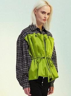 Plaid Patchwork Drawstring Straight Jacket