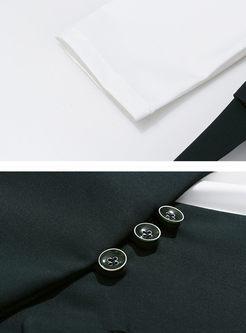Openwork Asymmetric Patchwork Slim Blazer