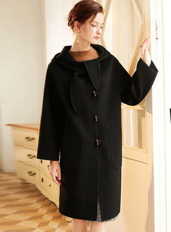 Black Hooded Loose Cashmere Wool Coat