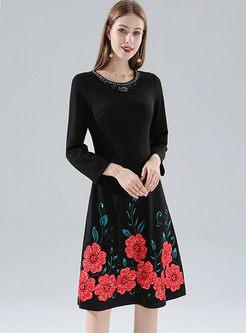 Black Long Sleeve Print Skater Dress