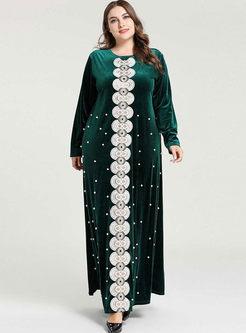 Plus Size Beading Velvet Maxi Dress