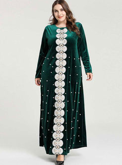 Plus Size Beading Velvet Maxi Dress