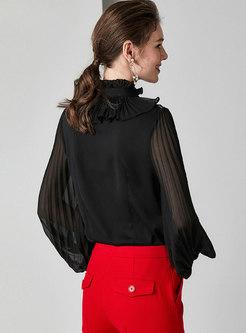 Lantern Sleeve Pleated Falbala Zip-up Silk Blouse