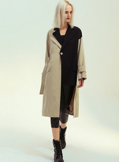 Notched Patchwork Color-blocked Trench Coat
