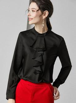 Solid Color Mock Collar Falbala Pullover Silk Blouse