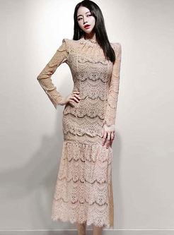 Long Sleeve Openwork Lace Maxi Dress