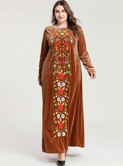Embroidered Velvet Plus Size Maxi Dress