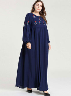 Blue Plus Size Embroidered Maxi Dress