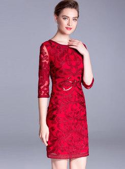 Crew Neck Embroidered Sequin Mesh Bodycon Wedding Dress