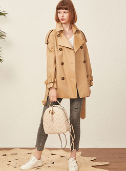 Waist Double Breasted Short Trench Coat