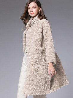 Straight Double-breasted Teddy Coat