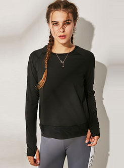 Crew Neck Long Sleeve Workout Top
