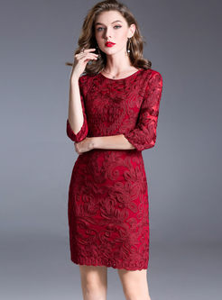 Crew Neck Lace Bodycon Cocktail Dress