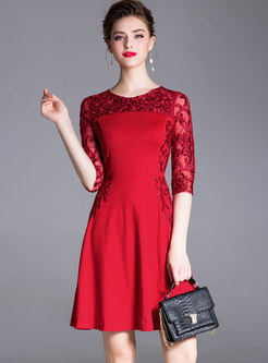 Embroidered Patchwork Mesh Waist Cocktail Dress
