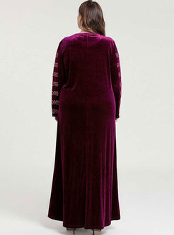 Long Sleeve Plus Size Velvet Maxi Dress