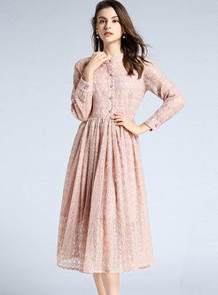 Mock Neck Lace Long Sleeve A Line Dress