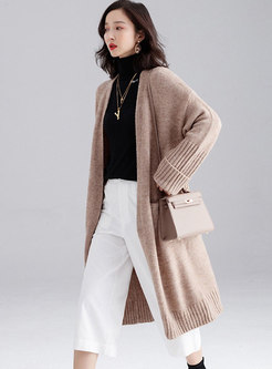 Solid Color Loose Long Sweater Coat