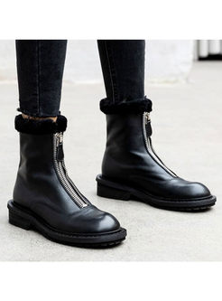 Round Head Zipper Short Boots