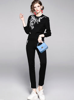 Crew Neck Embroidered Slim Pant Suits
