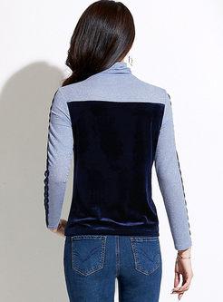 Turtleneck Lace Patchwork Slim T-shirt